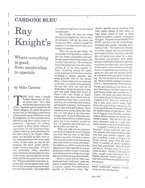 From the Archives: Ray Knight's - Where Everything is Good, From Sandwiches to Specials